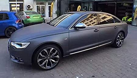 3d Chrom Matt Anthrazit Grau Metallic Mit Luftkanälen Car Wrapping Folie Musterstück 10x10 Auto