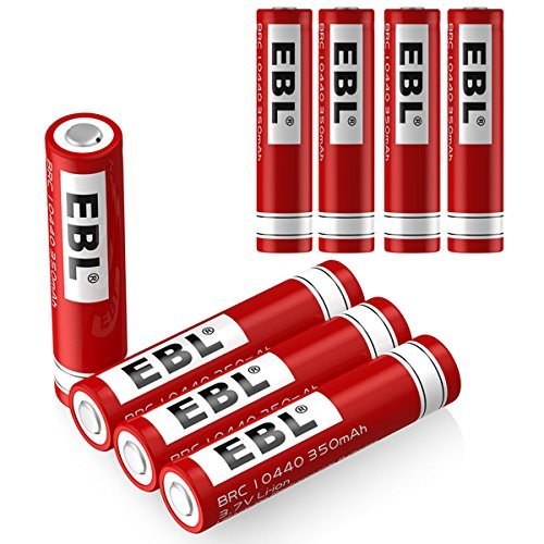EBL 10440 Li-ion Rechargeable Batteries 3.7V 350mAh for LED Flashlight Torch, 8 Pack