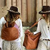 Woman's soft brown leather handmade backpack Crossbody convertible laptop macbook Shoulder bag