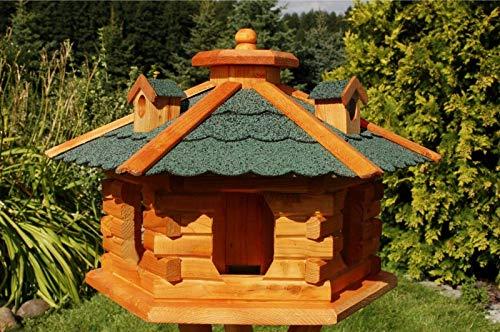 DEKO VERTRIEB BAYERN XXL Premium Vogelhaus mit Solar Beleuchtung VORRATSFÜTTERUNG Vogelfutterhaus, Farbe: Dach grün