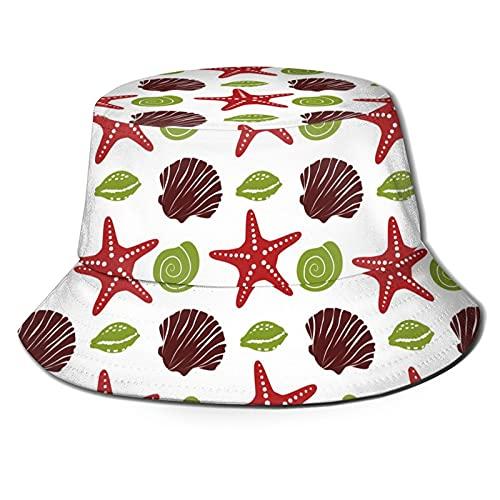 P.X.M.E. Sombrero unisex náutico, estrella de mar, concha de mar, caracol, rojo, verde, marrón verano sombrero pescador