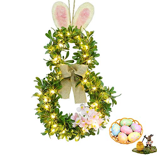 SW-ARTISAN Easter Wreath Front Door Bunny Wreathes Decoration Outdoor Lighted Greenery Garland with 20 LED Warm White for Home Wall Decor Spring and Easter Eggs for Kids