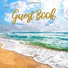 Guest Book: Watercolor Beach Scene Sign in Guestbook - Blue and Gold Memory Journal for Wedding, Birthday, Vacation Home Rental, VRBO, or Guest House ... for E-mail, Name and Address - Square Size