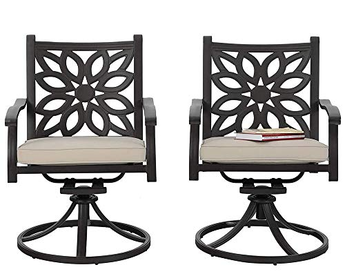 PHI VILLA Outdoor Swivel Rocker Patio Dining Chairs Set of 2 Cast Aluminum Extra Wide Furniture Chair with Cushion