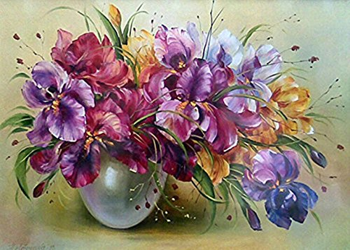 DIY 5D Diamond Painting by Number Kits,Diamanten Malerei 5D Coloured Orchid Full Rhinestones Cross Stitch/Kreuzstich Embroidery picture arts Craft for Home Wall Decoration–30x 40cm