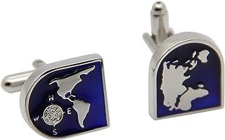 Mens Cufflinks Blue Globe Earth World Map Cufflinks Really Spins Pair Cufflinks for Wedding, Business