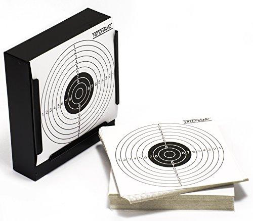Nitehawk - Flacher Kugelfangkasten für Luftgewehre/Airsoft + 100 Zielscheiben - Stahl - 14 cm