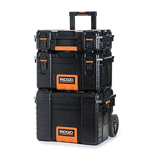 RIDGID Professional Tool Storage Cart And Organizer Stack, 3 Tool Box Combination