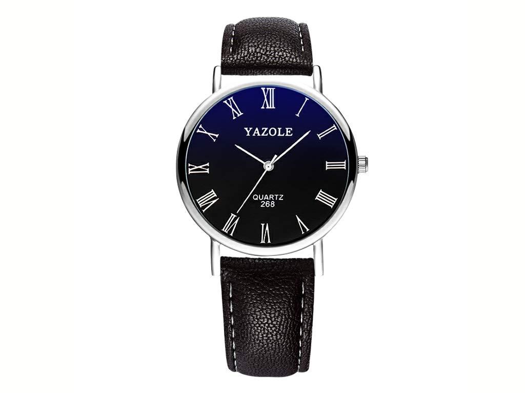 YAZOLE Max 74% OFF Mens Blu-Ray Roman Numerals Analog Wrist Save money Fa Quartz Watch