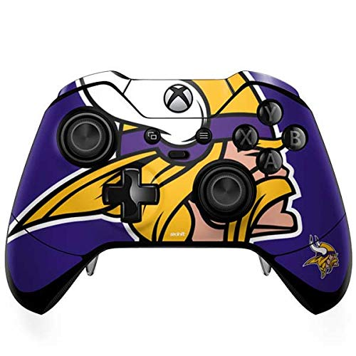 Skinit Decal Gaming Skin for Xbox One Elite Controller - Officially Licensed NFL Minnesota Vikings Retro Logo Design