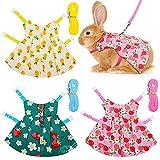 3 Sets Pet Rabbit Bunny Dress Small Animal Harness Vest and Leash Set Walking Vest Harness for Rabbit Hedgehog Ferret Guinea Pigs Piggies Squirrel