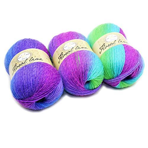 Cold Toy Bunte Wolle Farbverlauf Strickwolle Handstrickgarn zum Stricken & Häkeln Mehrfarbig 100g (9)