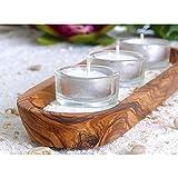 Hochwertiger Kerzenschale aus Olivenholz inkl Sand und Kerze Kerzenhalter Teelicht Halter Holz Wellness