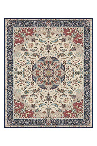 RUGGABLE Machine Washable Area Rug - Traditional Persian - 2-Piece Patented Rug System - Sima Royal Blue 8'x10'