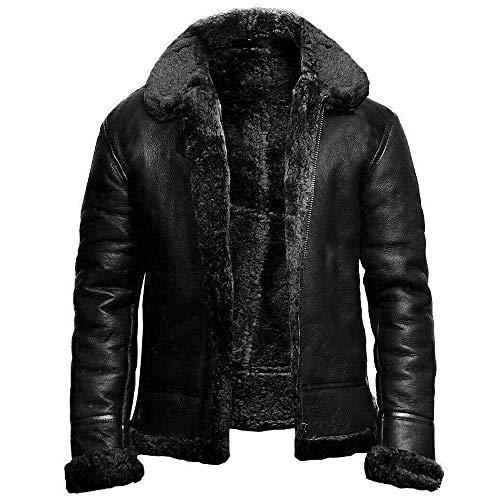Wuloopesoy Abrigo de piel para hombre, invierno grueso, cuello vuelto, cálido, chaqueta...