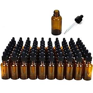 June Fox Glass Dropper Bottle,99 Pack 1oz Amber Glass Bottles with Glass Droppers and Black Cap for Essential Oils, Lab… |