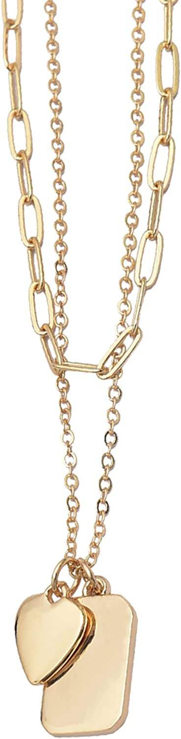 ALLISON ROSE ATELIER - Layered Necklace - Dainty Pendant Heart and Dog Tag Charm Necklace - 16K Gold Plated for Woman and Teens