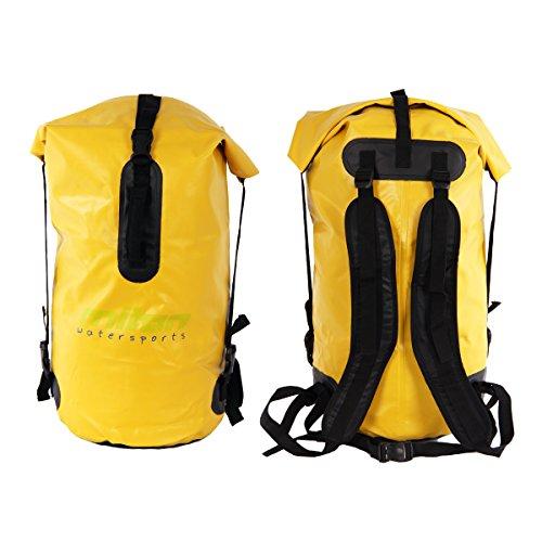 Miton Finback 50 Liter Dry Bag - LKW Plane wasserdichter Rucksack - Packsack mit Rotationsverschluss - Signalfarbe gelb - für Camping, Angeln, Boot, Rafting oder Kajak