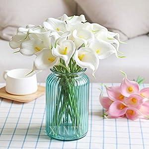XIAOHONG Real Touch Látex Calla Lirio Artificial Calla Lirio de Calla Flores Falso Flores de Primavera para Decoración…