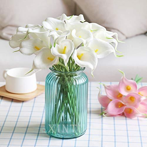 XIAOHONG – Ramo de látex. 15 unidades, diseño de lirios artificiales de cala, flores falsas, para decoración de bodas…