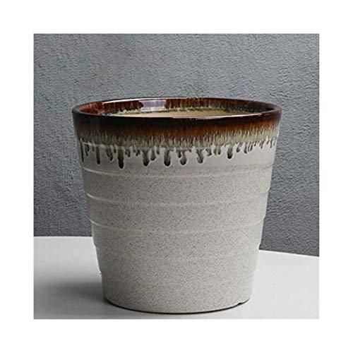 XpFac Store Maceta hogar conservación de Plantas de Maceta balcón de la Sala Verde ventilada Recipiente for Plantas Lavabo de cerámica Macetas de cerámica para Plantas (Color : Gray, Size : Large)