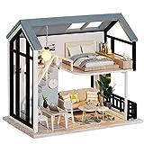 Fsolis Casa de Muñecas en Miniatura de Bricolaje con Mueble, Casa en Miniatura de Madera 3D con Cubierta Antipolvo, Kit de Regalo Creativo de Casas para Muñecas QL02