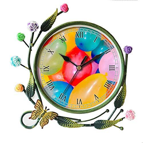 meisjesachtig woonkamer vlinder bloem blad decoratieve anti-tikken kwarts, ijzeren kunst analoge grote cijfers nachtkastje bureau klok 047.ballon, mooi, kleurrijk, waterballon, kleurrijk