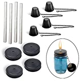 Brass Tacks Mason Jar Torch Kit, Includes 4 long life wicks, 4 lids 4 caps.  Just add mason jars and fuel outdoor lighting.