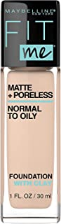 Maybelline New York Fit Me Matte + Poreless Foundation Makeup, For Normal to Oily Skin, Classic Ivory 120, 1 fl oz