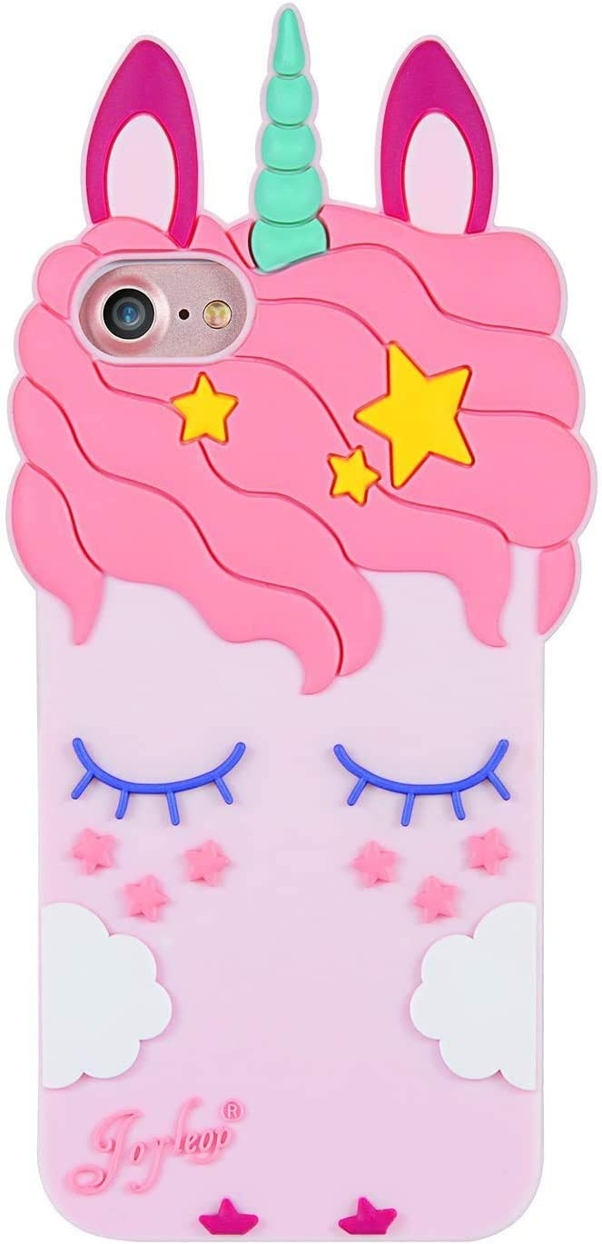 Joyleop Pink Unicorn Case for iPhone 6 7 8 Cartoon Soft Silicone Cute 3D Fun Cover,Kawaii Unique Kids Girls Lady Cases,Lovely Animal Character Rubber Skin Shockproof Protector for iPhone6 7 8 4.7