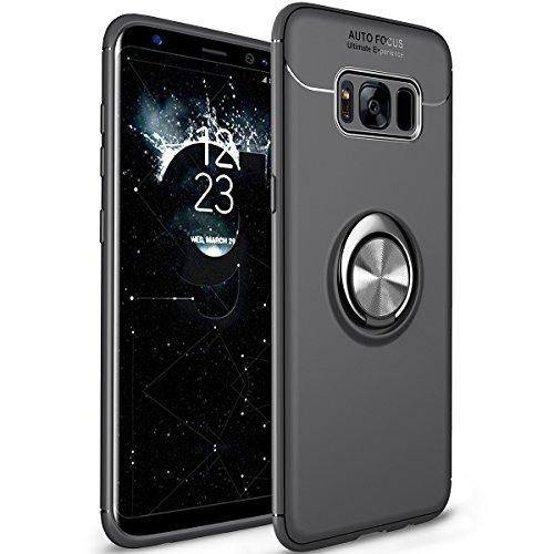 WATACHE Galaxy S8 Hülle, Ring Kickstand 360 Grad rotierenden Ring Drop Schutz Stoßdämpfung weichen TPU Cover [Arbeit mit magnetischen Auto Halterung] für Galaxy S8(Schwarz)