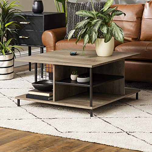 Walker Edison Metal and Wood Square Coffee Table Living Room Accent Ottoman Storage Shelf