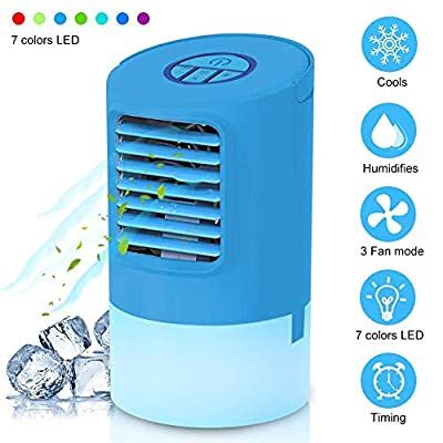 CRUIXIN Portable Air Conditioner, Personal Space Air Cooler Desktop Fan Mini Air Circulator Purifier Cooler with Portable Handle and Night Light for Home Room Office Outdoors