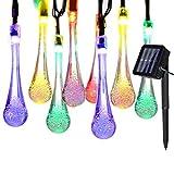 Yasolote, Solar Lichterkette Außen, Wasserdicht Wassertropfen LED Außenlichterkette, 3,3m 20 LED 8 Modi, Beleuchtung für Garten Balkon Pavillon Terrasse Rasen Hof Zaun Hochzeit Fest Deko...