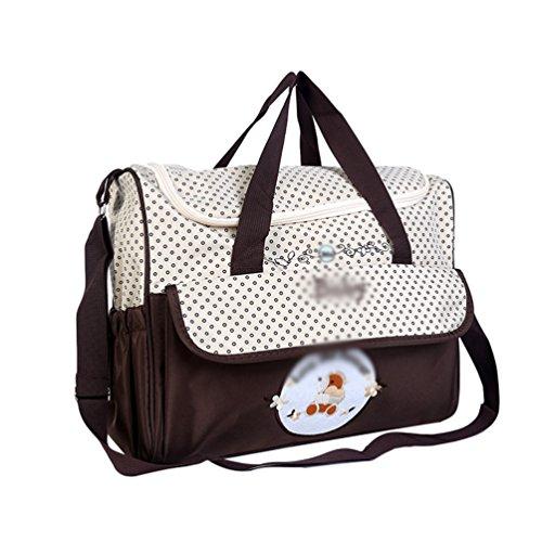 Jitong Mamás Bordado Bolso de Hombro para Viaje Hospital Gran Capacidad Bebé Bolsos Cambiadores de Pañales (Café, 38 * 18 * 30cm)