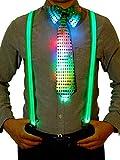 Blulu Kostüm Zubehör Sets Beinhalten Leuchtend LED Y Back Hosenträger, Vorgebundene Fliege und...