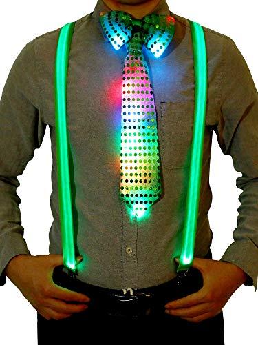 Blulu Kostüm Zubehör Sets Beinhalten Leuchtend LED Y Back Hosenträger, Vorgebundene Fliege und Krawatte für Festival Party Vorräte (Grün)
