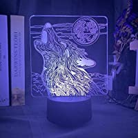 Tatapai 3DナイトライトイリュージョンLedランプキッズランプ用装飾ランプアニマルウルフムーンLed色変更バッテリー駆動ナイトライト部屋の装飾用クールLedナイトライト2019