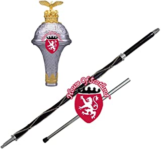 "DRUM MAJOR MACE STAFF,STAVE 60"" MALACCA CANE EMBOSSED HEAD GOLDEN EAGLE EMBLEM FREE CARRYING CASE"