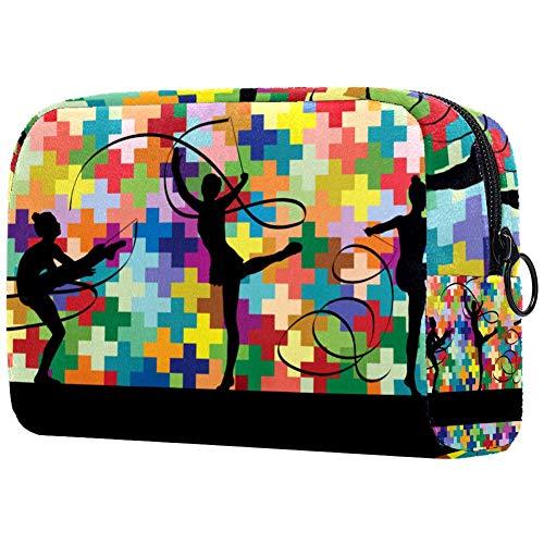 Bolsa de cosméticos para mujer haciendo calistenia, gimnasia, deportes, trucos con cinta, adorable, espacioso, bolsas de maquillaje, bolsa de aseo de viaje, organizador de accesorios