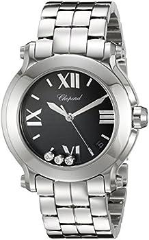 Chopard Happy Sport Black Dial with Three Floating Diamonds Ladies Watch