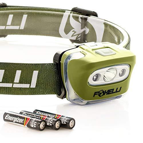 Foxelli Headlamp Flashlight - Super Bright, Lightweight Head Lamp, Comfortable Headband, Perfect for Runners, 3 x AAA Batteries Included