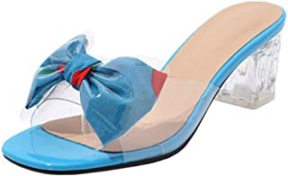 TAOFFEN Women Sweet Chunky Heel Summer Shoes Bow Sandals