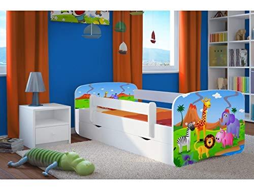 Letto per Bambini Singolo Bianco 70x140 80x160 80x180 con sponda anticaduta con barriera con Materasso cassettone Estraibile e Telaio a doghe per Bambini e Bambine - Safari - 180x80