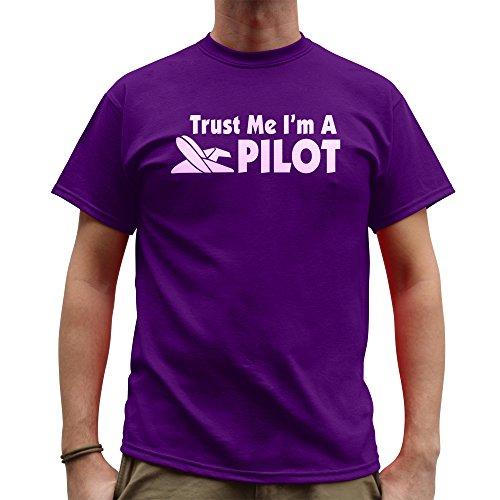 Nutees Trust Me Ik ben een piloot, vliegtuig helikopter grappige Mens T Shirt - Paars
