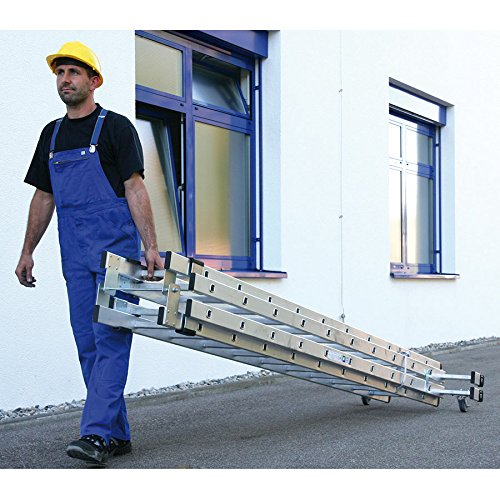 Aluminium staande ladder 4-delig met rolbaar wieltje, traverse 4 x 12 sporten - 33548