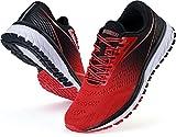 WHITIN Zapatillas Deportivo Hombre Zapatillas de Running Calzado de Deporte Transpirable Sneaker Casual Gimnasio Fashion Bambas Ligero Athletic Outdoor Trail Fitness Gym Libre Negro Rojo EU 43