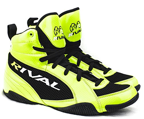 RIVAL BOXING BOOTS-LOW TOPS (LIME & BLACK, 10)