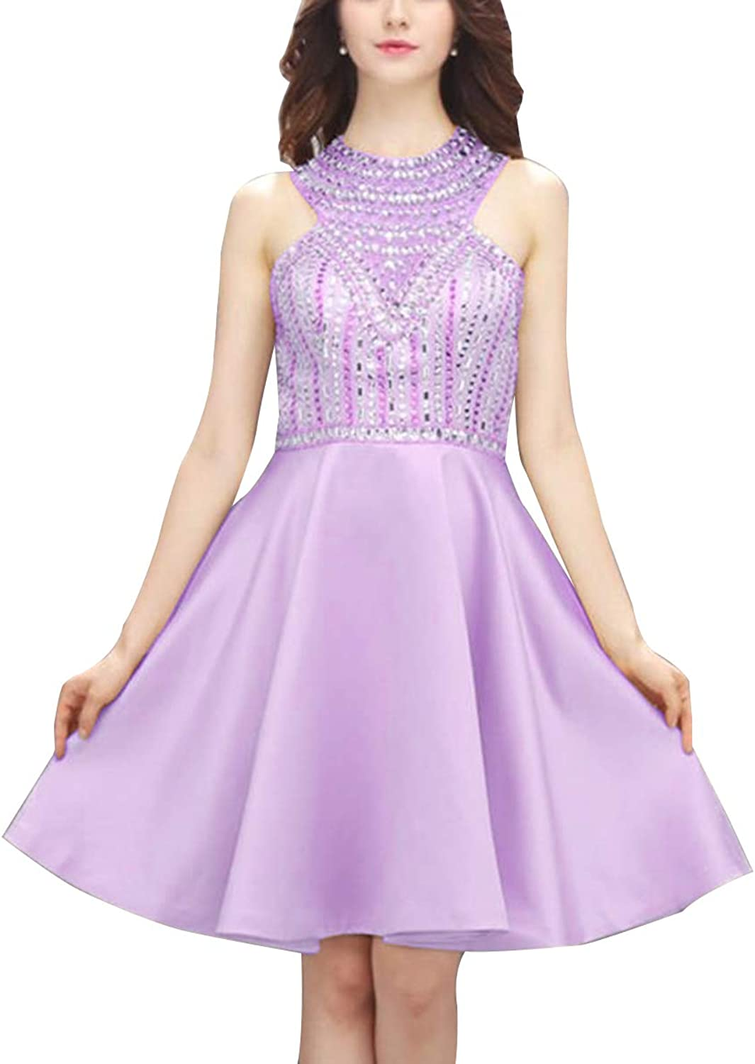 Sequined High Neck Homecoming Dresses Short ALine Backless Cocktail Party Gowns