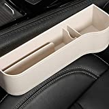 Zhaoronghua Multifunktionale Aufbewahrungsbox Für Auto, PU Leder Autositz Seitentaschen Organizer Autositz Seiten Schlitz Taschen Auto füllt Lücken Zwischen den Sitzen,Beige
